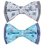 Blueberry Pet Summer Gift Box with Pack of 2 Handmade Dog Cat Bow Tie, Go for Fun Designer Bowtie Set, 4'' 2.5''