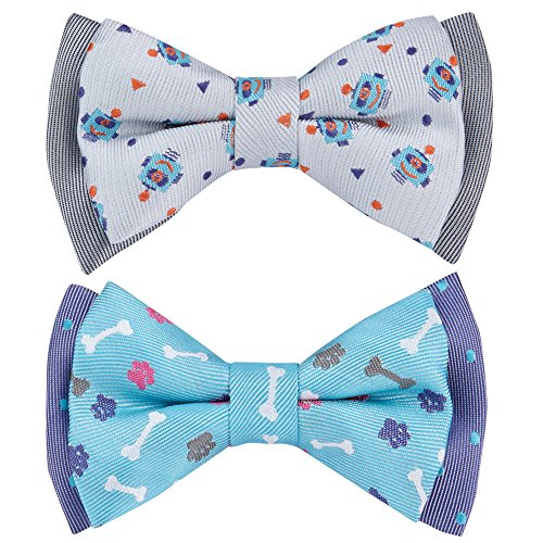 Blueberry Pet Summer Gift Box with Pack of 2 Handmade Dog Cat Bow Tie, Go for Fun Designer Bowtie Set, 4