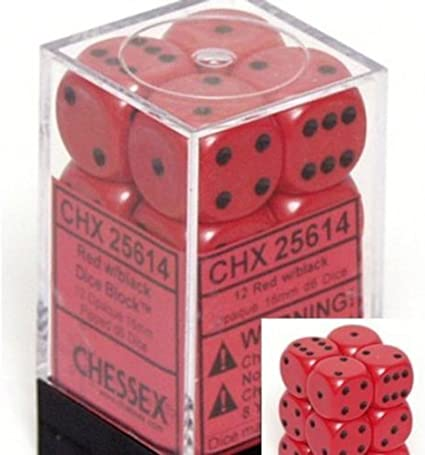 16mm Six Sided Die 12 Chessex Dice d6 Sets: Opaque Red with Black Block of Dice