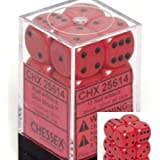 Chessex Dice d6 Sets: Opaque Red with Black - 16mm Six Sided Die (12) Block of Dice