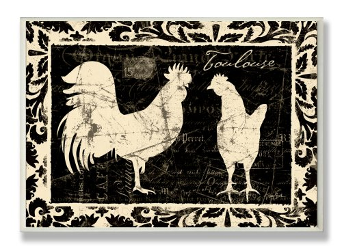 Rooster Wall Plaque - Stupell Home Décor Cream Roosters Black Kitchen Wall Plaque, 10 x 0.5 x 15, Proudly Made in USA