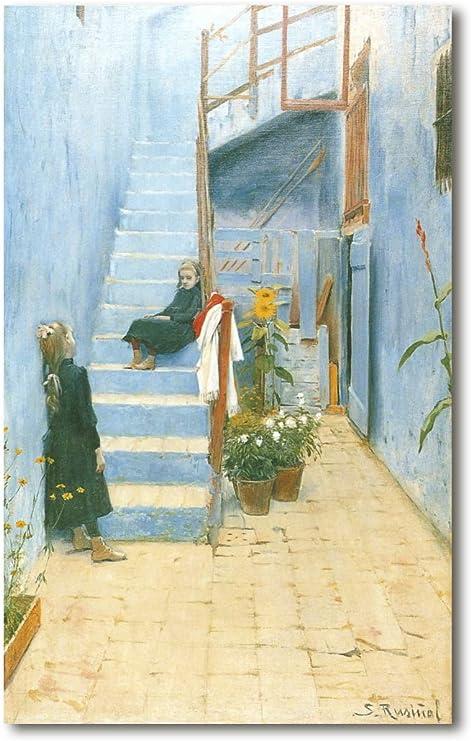 Cuadro Decoratt: Patio azul con dos niñas en la escalera (Sitges) - Santiago Rusiñol 62x99cm. Cuadro de impresión directa.: Amazon.es: Hogar