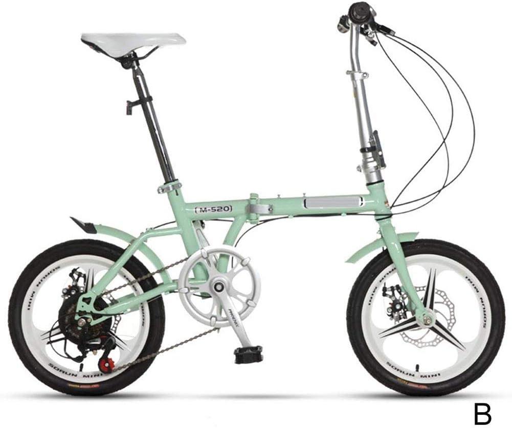 Bicicleta Plegable, 16 Pulgadas Ajustable Plegable Acero Al Carbono De Alta Bicicleta Compacta para Adultos Estudiantes Hombres Y Mujeres Actividades Al Aire Libre,Azul: Amazon.es: Deportes y aire libre