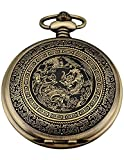AMPM24 Bronze Men's Dragon & Phoenix Dangle Pocket Quartz Watch + Gift WPK062