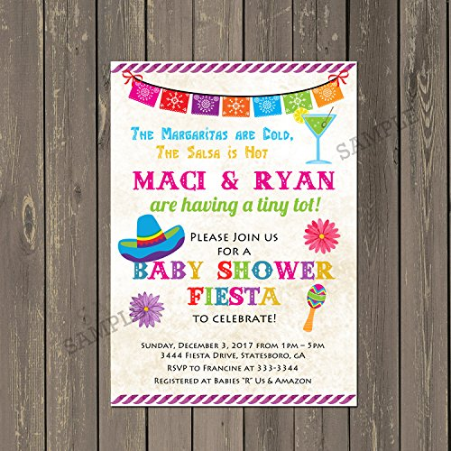 Mexican Fiesta Baby Shower Invitation, Set of 10 invitations with white envelopes (Couples Baby Shower Invitation)