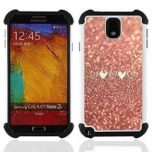 """SAMSUNG Galaxy Note 3 III / N9000 / N9005 - 3 en 1 impreso colorido de Altas Prestaciones PC Funda chaqueta Negro cubierta gel silicona suave (Glitter Asfalto amor del corazón del brillo del oro"""")"""