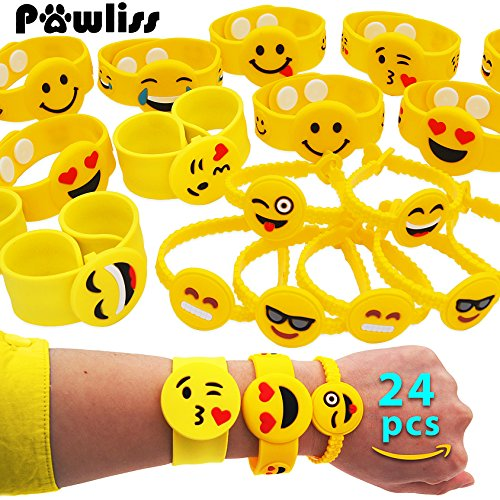 Pawliss Emoji Bracelets Wristband, Birthday Party Favors Supplies for Kids Girls, Emoticon Toys Prizes Gifts, Rubber Band Bracelet Silicone Writbands 24 Pack