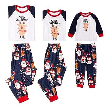 XYQB Santa Navidad Set Pijamas caseros Pijamas Impresos Traje Padre-Hijo Pijamas de Manga Larga con Cuello Redondo Navidad Pijamas,Kids,4~5T: Amazon.es: ...