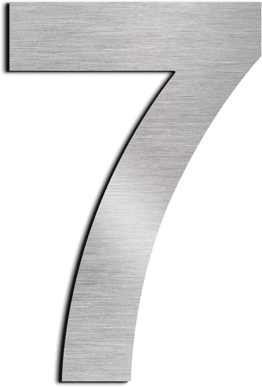 nanly N/úmero de casa moderna-25.4Cent/ímetros//10 pulgadas-Acero inoxidable F/ácil de instalar y hecho de acero inoxidable s/ólido 304(N/úmero 4) Apariencia flotante