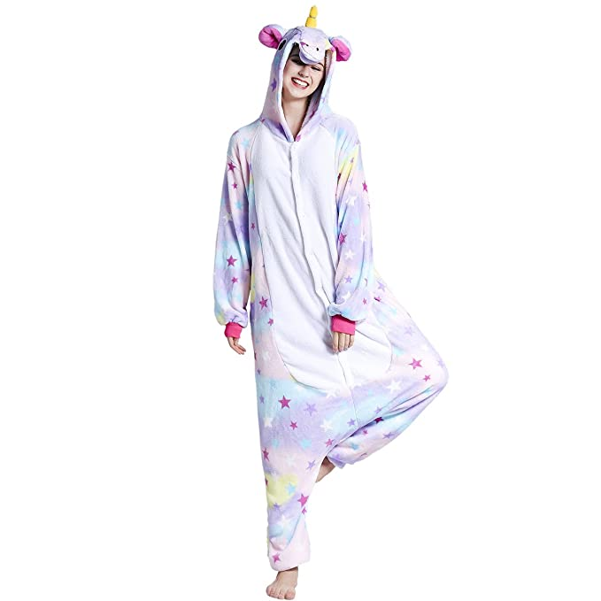 Adulto Unisex Franela Unicornio Animal Onesies Pijamas OnePiece Cosplay (estrella, XL)