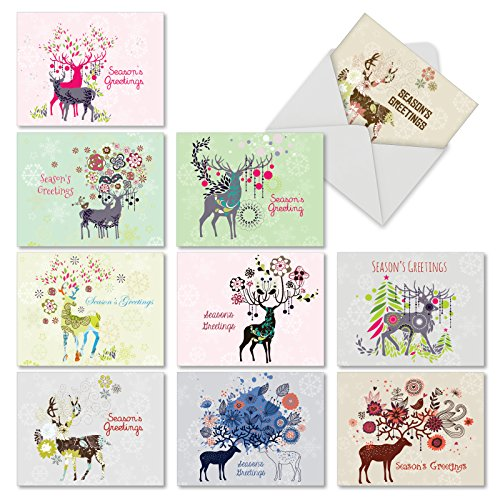 10 'Dandy Reindeer' Season's Greetings Cards with Envelopes 4 x 5.12 inch, Boxed Set of Colorful Geometric Shapes and Deer with Antlers Cards, Bright Patterned Deer Cards M2938SGG