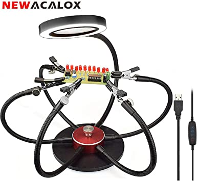 Soldering Helping Hands,NEWACALOX Third Hand Soldering Station with 3X USB Magnifying Glass Daylight,6 Helping Arms,Swiveling Clips