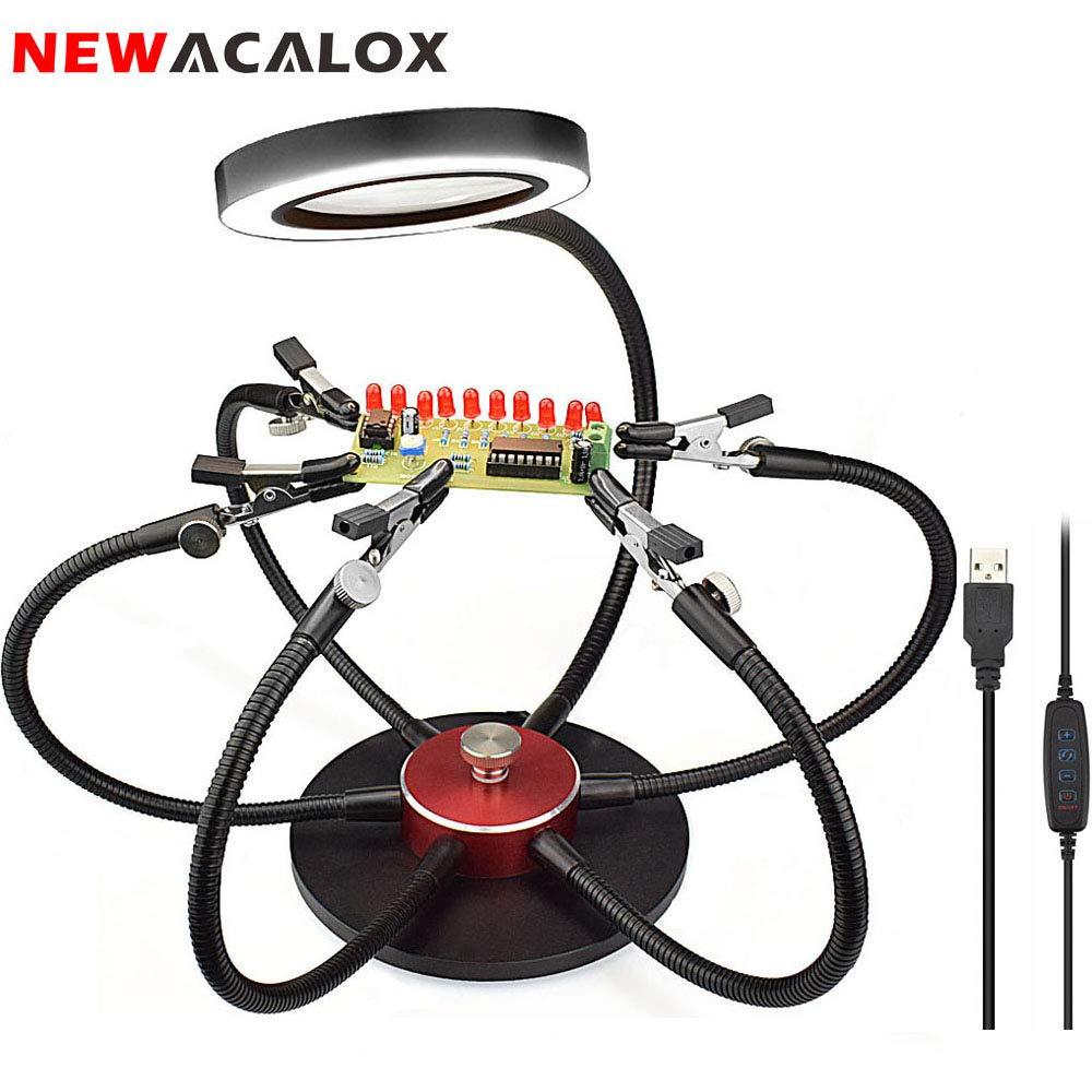 6194a0c50e Flessibili Mani d'aiuto rotanti a 360 °, stazione di saldatura di terza  mano NEWACALOX con lente d'ingrandimento 3X Daylight, 6 bracci a collo  d'oca, clip ...