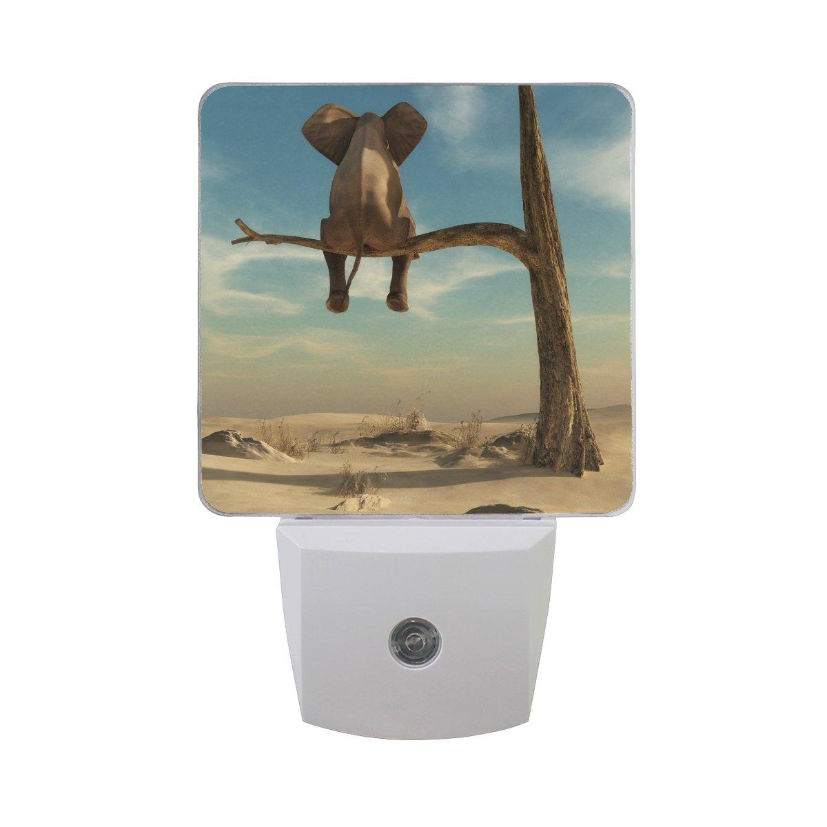 プラグインLED夜ライトランプ象Stands on Branch of Witheredツリー印刷with Dusk to Dawnセンサーのベッドルーム、バスルーム、廊下、階段、2 pack-0.5 W B07CVG651M