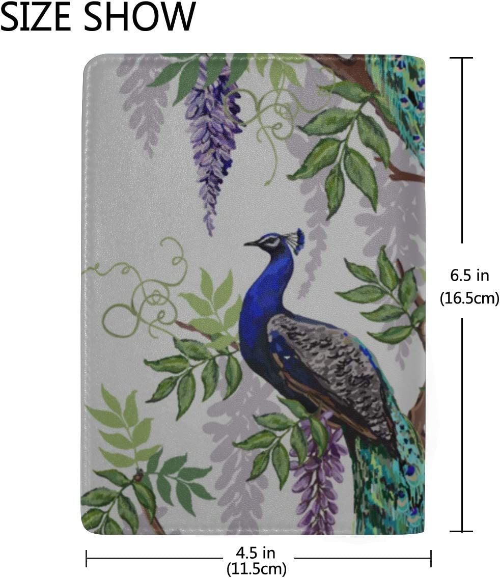 Classical Fashion Embroidery Beautiful Peacock Blocking Print Passport Holder Cover Case Travel Luggage Passport Wallet Card Holder Made With Leather For Men Women Kids Family