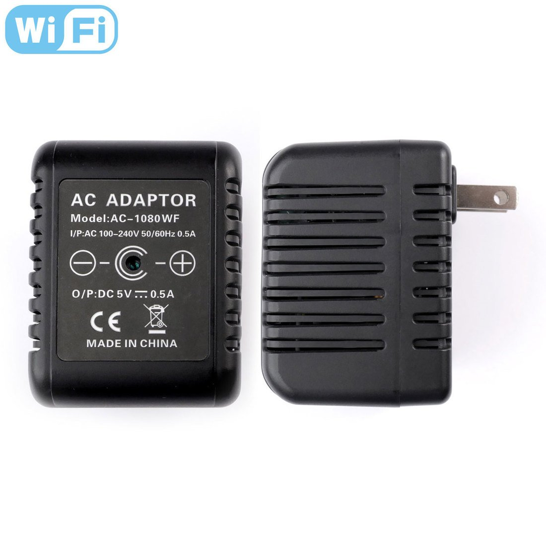 RecorderGear AC50W HD 1080P WiFi IP Hidden Camera AC Adapter / Motion Activated / Live Stream iOS-Android App / Email Alerts / Covert Security Spy Nanny Cam