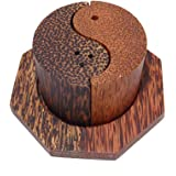 Wooden Salt and Pepper Shakers Set Handmade Yin Yang Shape Coconut & Palm Wood