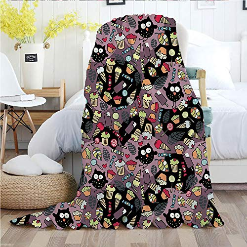 Owls,Throw Blankets,Flannel Plush Velvety Super Soft Cozy Warm with/Crazy Owls and Tasty Delicious Sweets Cupcakes Ice Cream Candy and Abstract Leaves Decorative/Printed Pattern(60
