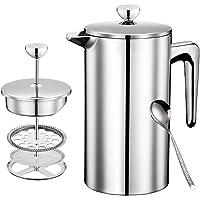 DELERKE Dubbelväggig isolerad fransk kaffepress i rostfritt stål med ersättningsfilter och steg-för-steg-instruktioner…