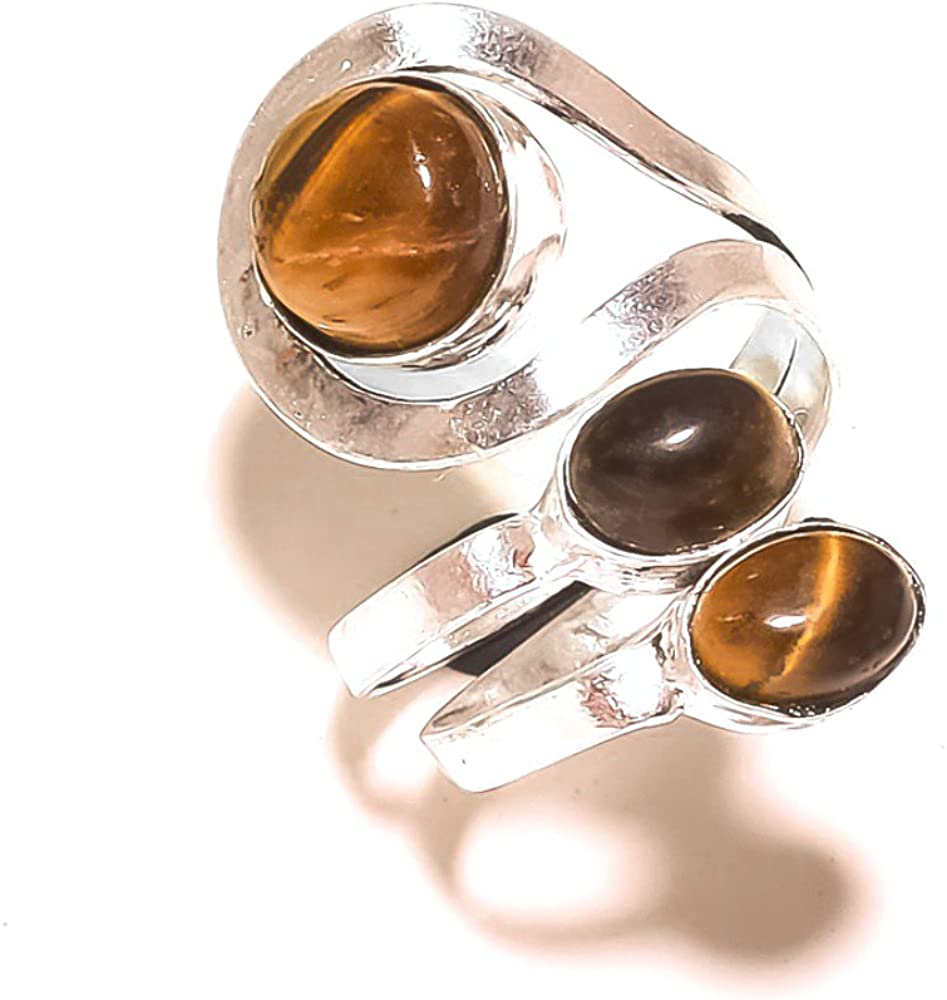 Sizable Low Price Handmade Jewelry Brown Tiger Eye Sterling Silver Overlay 5 Grams Ring Size 5 US