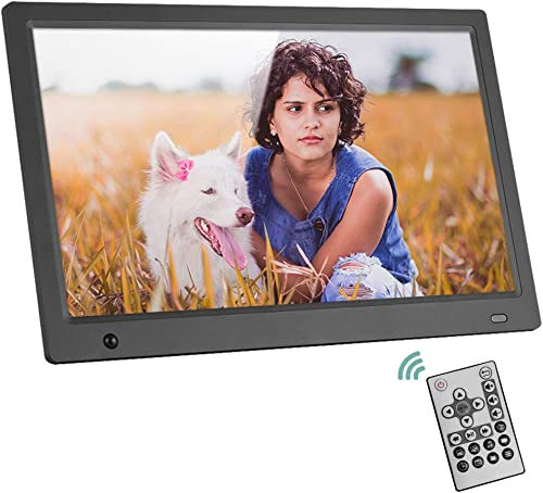 Andoer 15.6 Inch Digital Picture Frame with 16 9 IPS Screen,Widescreen HD Digital Photo Frame Support 1080P Video with Motion Sensor Background Music and Slideshow Mode with Remote Control 8GB SD Card
