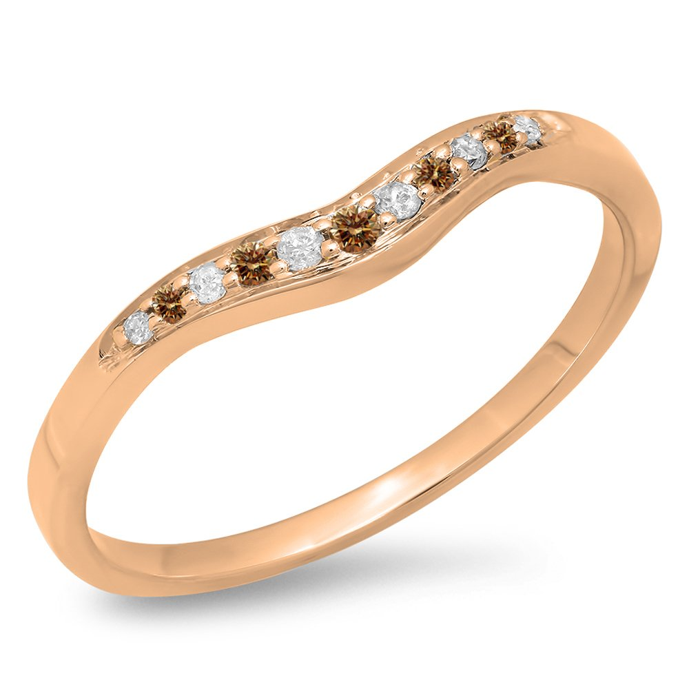 0.11 Carat (ctw) 14K Rose Gold Round Champagne & White Diamond Wedding Stackable Guard Band (Size 7)