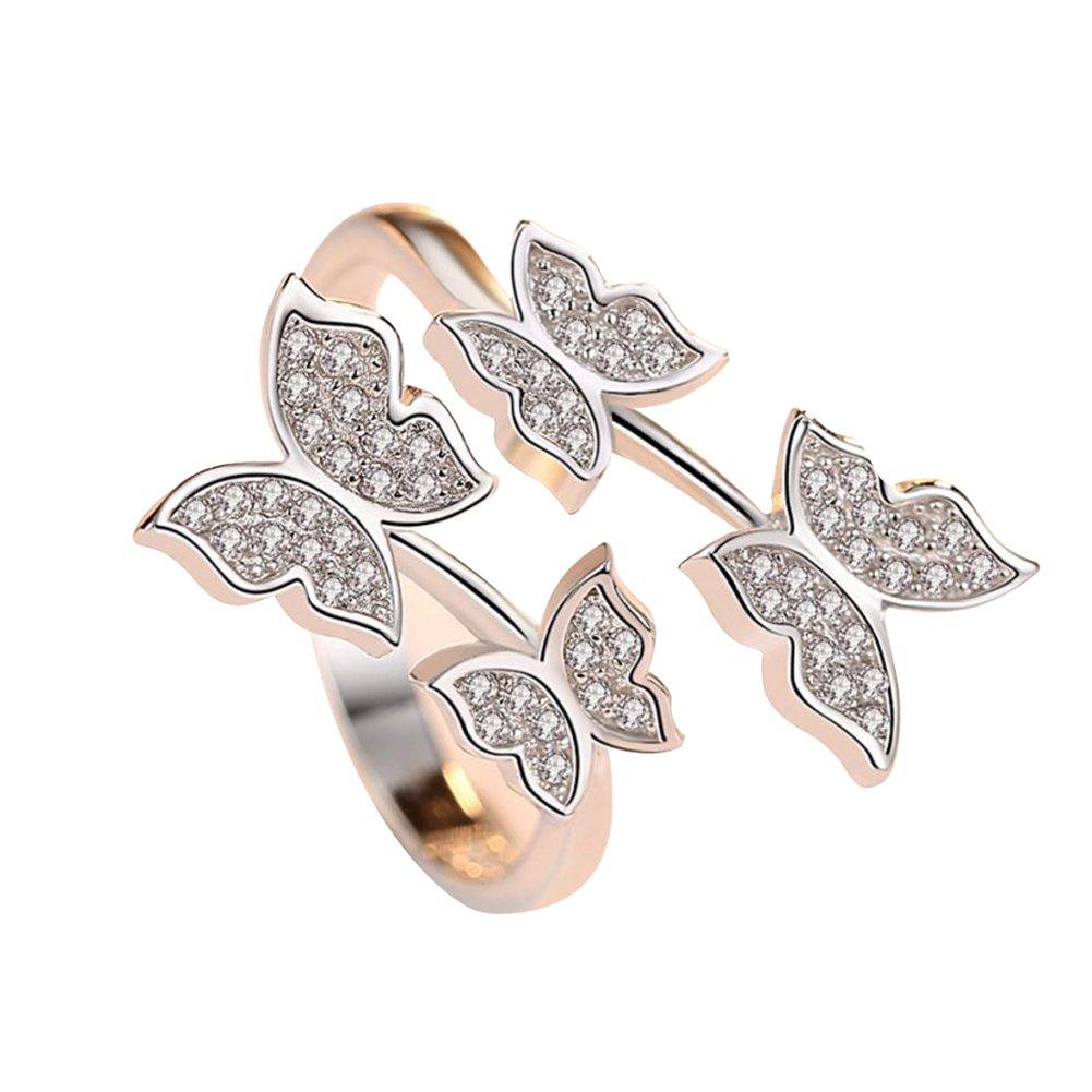 Leisial Piccolo Stile Fresco Moda Farfalla Diamante Anello Femminile Modelli Afflusso di Persone Altamente Raffinato Lavorazione Squisita