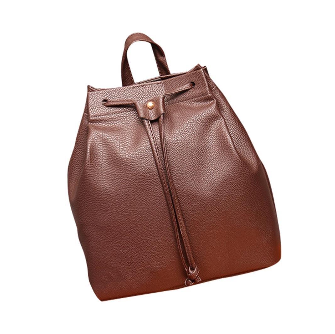 Mochila, Manadlian Bolsa de cubo de mujer Mochila Cordón de la moda Bolsa de viaje Satchel School Bag (25cm*12cm*27cm, Marrón): Amazon.es: Hogar