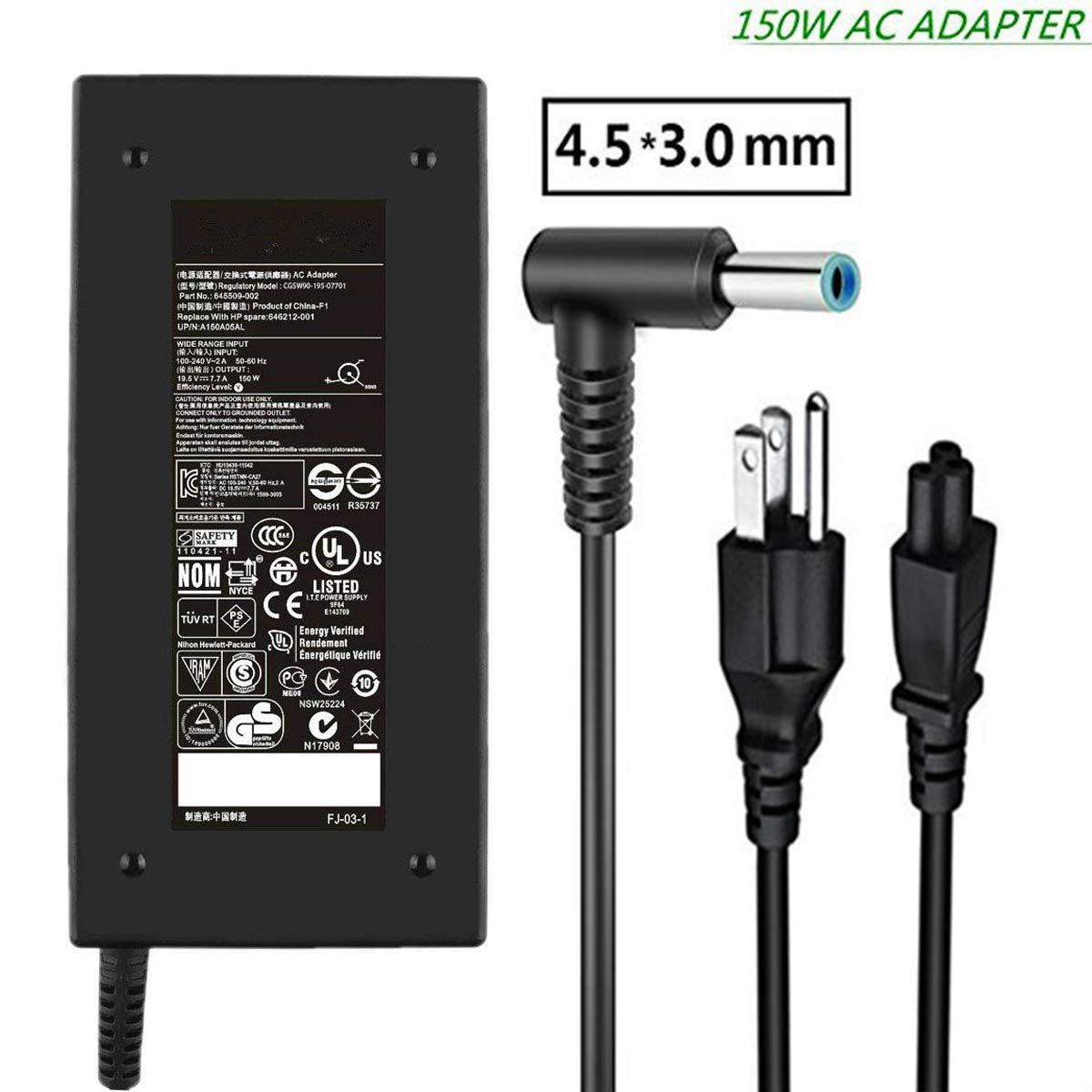 New19.5V 7.7A 150W AC Adapter Charger,for HP ZBook 15 G3 G4,HP ZBook Studio G3 G4,HP ZBook 15u G3 G4,HP OMEN 15, OMEN x by HP Laptop ADP-150XB B Power Supply Connector 4.5mm x 3.0mm