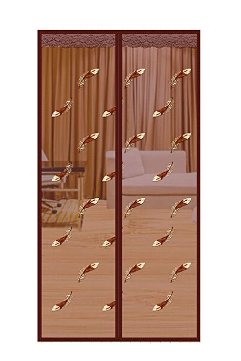 Qemsele Cortina Mosquitera Puertas 90 x 210cm Cierre Magn/ético Autom/ático Que Evita el Paso de Insectos con Imanes y Velcro Marco para sala de estar balc/ón 80 x 200 cm, Marr/ón mosquito puerta