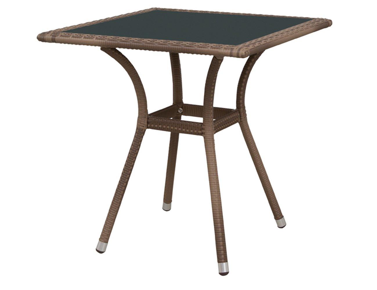 Siena Garden 800268 Tisch Wien, 70x70cm Aluminium-Gestell Gardino®-Geflecht sand Glasplatte mocca, Aluminium-Fußkappen