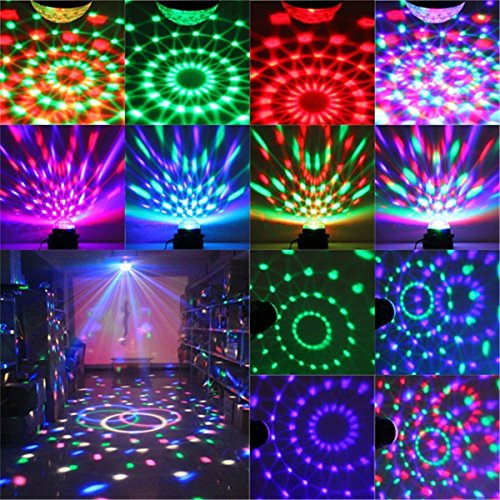 ELEOPTION Mini Stage LED Light 3W RGB Crystal Magic Ball LED Lamp 7 Colors Rotating Outdoor Car Stage DJ Disco Light USB Rechargeable Self-Propelled & Sound Activated Colorful Light by Eleoption (Image #3)'