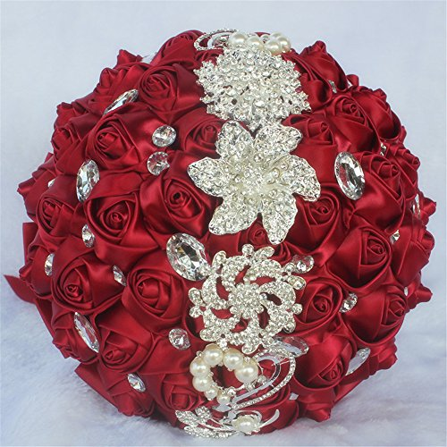 USIX Handcraft Crystal Satin Rose Brooch Bridal Holding Wedding Bouquet Brooch Bouquet, Lace Decorated Bouquet, Wedding Flower Arrangements Bridesmaid Bouquet(Dark Red)