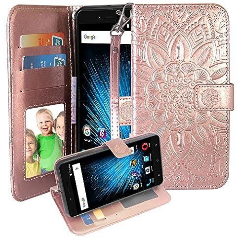 Blu Studio XL2 Case,Harryshell(TM) Kickstand Flip PU Wallet Leather Protective Case Cover with Card Slot & Wrist Strap for Blu Studio XL 2 S0270UU (Phone Wallet For Blu Studio Phone)