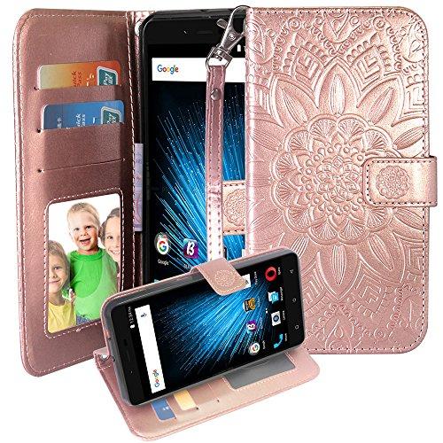 BLU Vivo XL2 Case, Harryshell(TM) Kickstand Flip PU Wallet Leather Protective Case Cover with Card Slot & Wrist Strap for BLU Vivo XL 2 V0070UU (B-4)