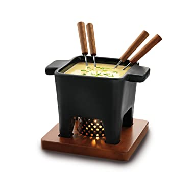 Boska Holland Tealight Fondue Set, For Cheese or Chocolate, Tapas, 400 mL Black, Pro Collection