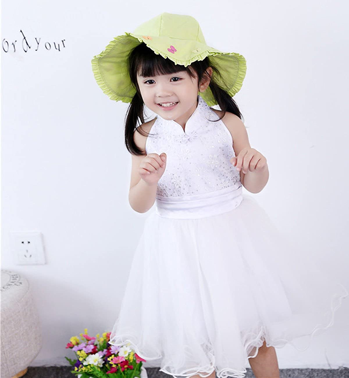 Sumolux Summer Sun Hat for Baby Girl Stereoscopic Embroidery Colorful Butterfly Girls Cap