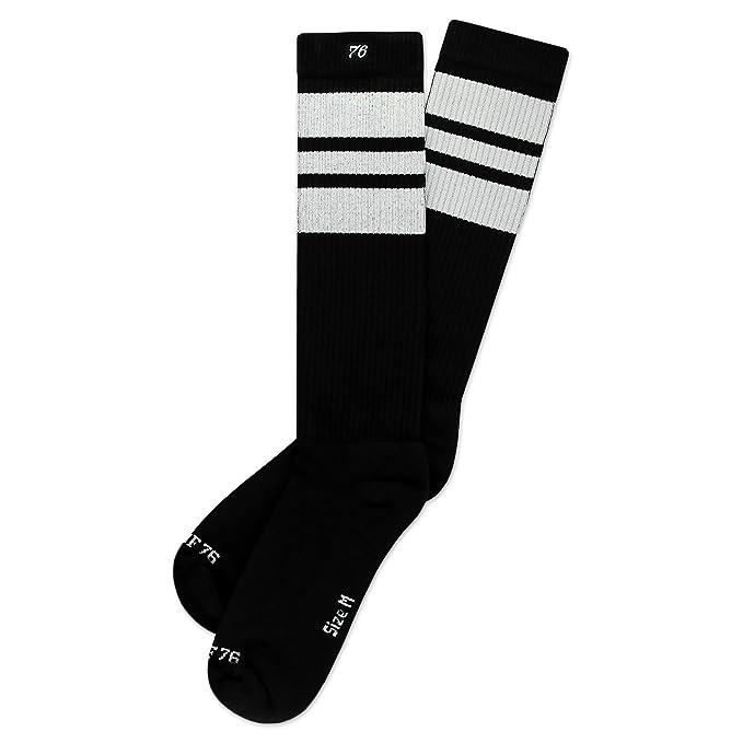 Spirit of 76 Los white Whites   Calcetines altos retro de rayas   rayas negras, blancas   calcetines unisex estilizados entubados: Amazon.es: Ropa y ...