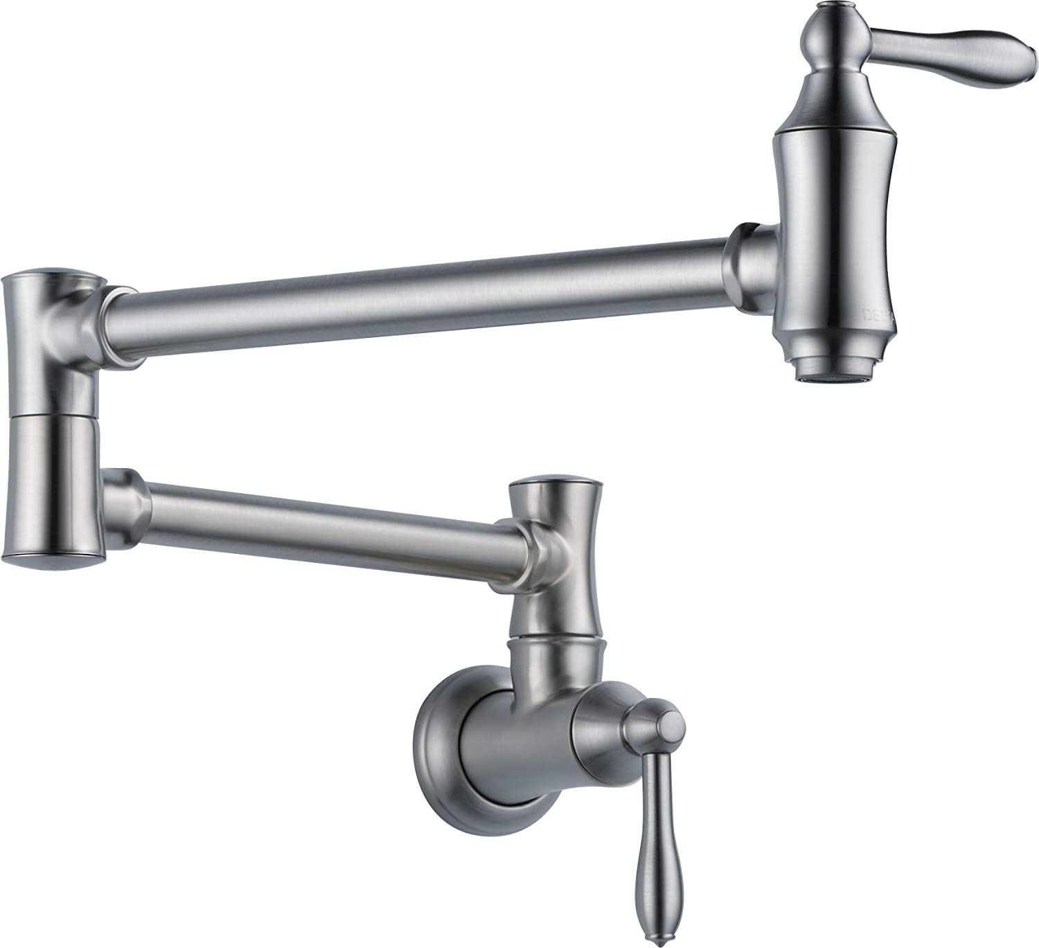 Delta Faucet Traditional Wall-Mount Pot Filler Faucet, Arctic Stainless 1177LF-AR