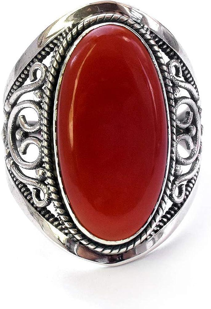 Anillo de piedra preciosa facetada de ónix rojo natural de plata de ley 925 hecho a mano Boho joyería piedra natal