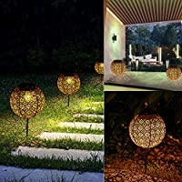 LONZEN Solar Lantern Pathway Light Outdoor Garden Stake Lights Sun Powered Patio Yard Waterproof LED Solar Lights Decorative Pathway for Lawn
