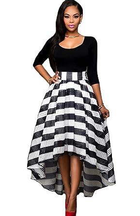 KUFV Womens Long Sleeve Tops Stripes Irregular Maxi Skirt 2PCS ...