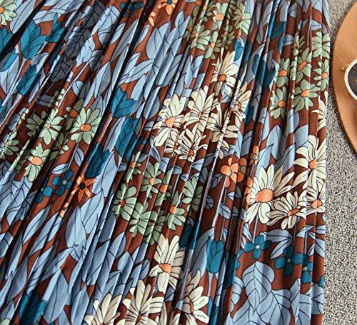 Mujer Plisadas Faldas con Estampado de Flor Maxi Falda Media Larga Elástica de Gasa Faldas de playa Un tamaño Azul Azul