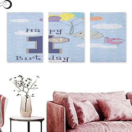 Anniutwo 1st Birthday Wall Decoration Cute Elephant In The Sky With Hand Drawn Style Balloons Party