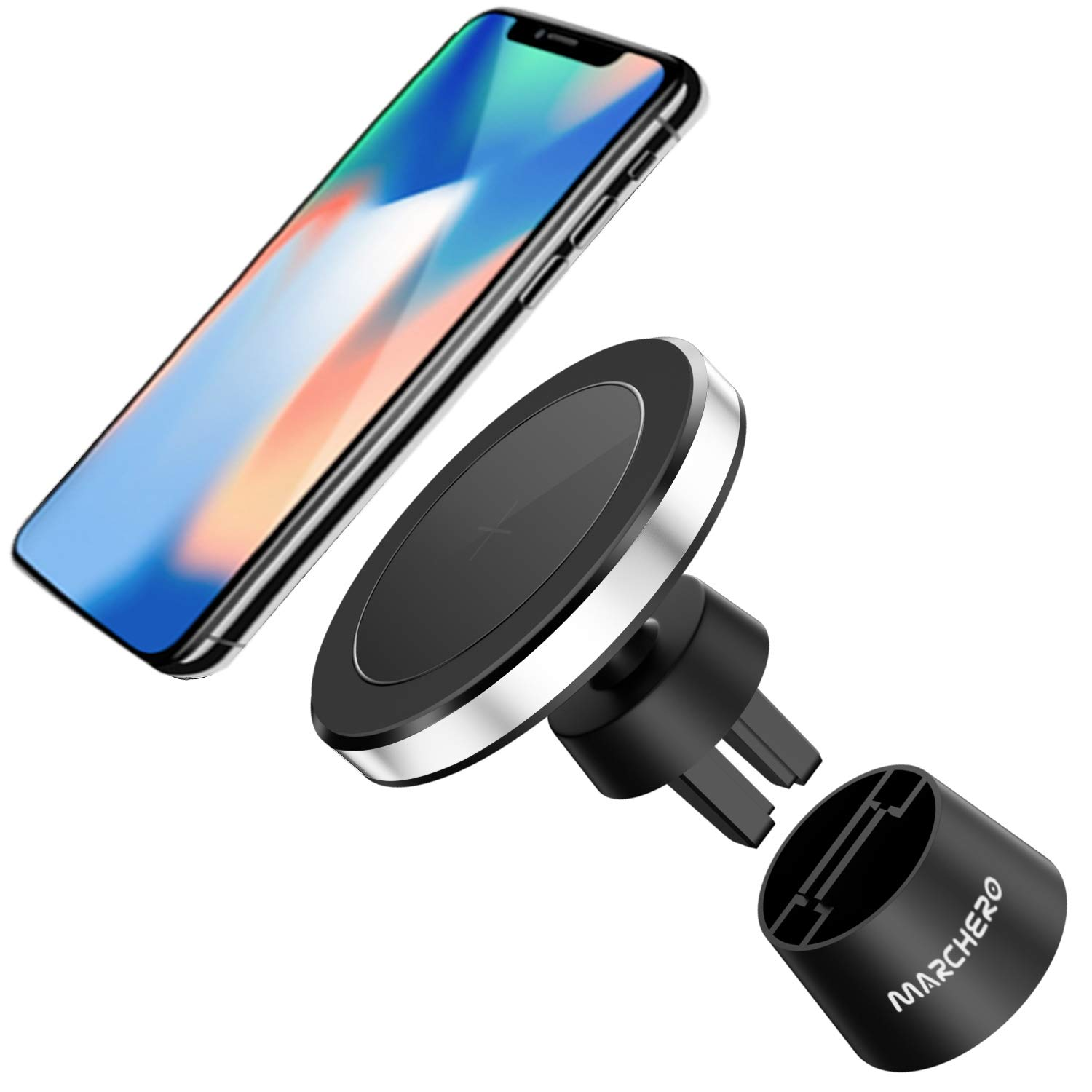 Magnetic Wireless Car Charger, MARCHERO 10W Charging Car Mount Air Vent or Stand 7.5W Compatible iPhone Xs/XR/X/8,10W Compatible Samsung Galaxy Note10/S10/S9/S8/S7/S6 Edge(Update) by MARCHERO