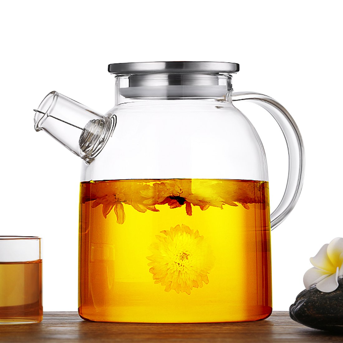JIAQI 1600ml /54oz Glass Water Pitcher, Heat Resistant Glass Teapot with Stainless Steel Lid and Filter Coil Handcraft Water Jug Ideal for Fruit Tea Container and Blooming Glass Kettle GYBL060