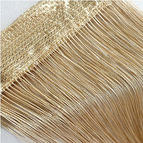 - Door String Curtain, Wall Panel Fringe Window Room Divider Blind, Home Patio Bedroom Decorative Tassel Screen Ribbon Strings Strip Silver Thread Screen for Wedding Restaurant Parts Party (Champagne)