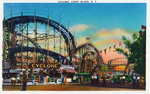 Coney Island, New York - View of the Cyclone Rollercoaster # 1 - Vintage Halftone (9x12 Fine Art Print, Home Wall Decor Artwork Poster)