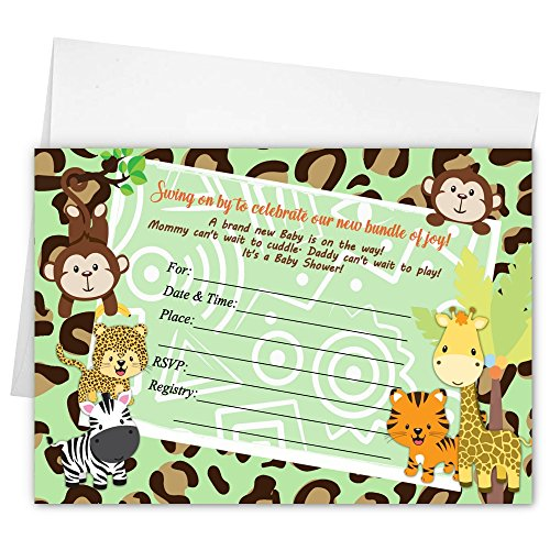 Twin Jungle Girl Boy Monkey Animal Baby Shower Invitations