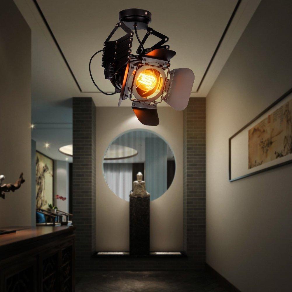 EuSolis Telescopic Loft Industrial Iron Spotlight Vintage Ceiling Lights LED Shop Light Track Light Nordic Pendant Light Wall Lights Spotlight for Bar Cafe Shop by EuSolis (Image #5)
